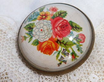 Bridle Rosette Brooch Pin, SPRING Flowers, Antique Jewelry, Equestrian