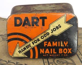 Dart Family Nail Box Tin, Kress Stores, Vintage Storage, Home Decor