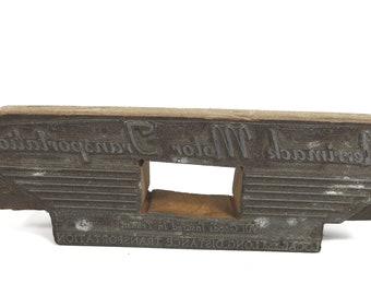 Wood Metal Print Block, Merrimack Motor Transportation, Letterpress Printing Block, Vintage Advertising