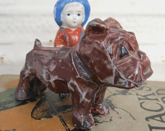 English Bulldog Lead Figurine, Painted, Vintage Dog Lovers Collectible