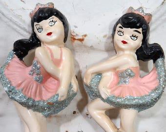 2 Chalkware Ballerina Plaques, Wall Hangings, Vintage, Girl's Room Decor