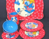 Ohio Art Toy Tea Set, Bluebirds, 7 Piece Set, Vintage, Tin Litho