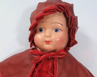 Red Riding Hood Doll, Oil Cloth Clothes, Composition Head, Vintage