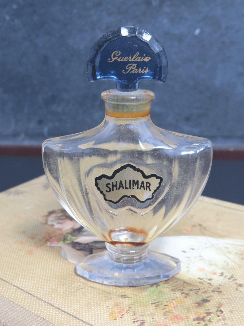 Guerlain Shalimar Perfume Bottle Sapphire Blue Fan Stopper Etsy