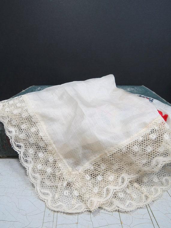 Blue Laced Tips Souvenir Handkerchief D/' Alsace France Silk Hand Embroidered Stork or Crane Flowers