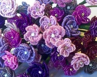 Purple Wildflower French Beaded Flower Stems