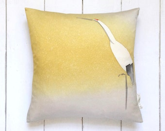 Ombre Yellow and White Vintage Japanese Kimono Silk Fabric Pillow Cushion 'Crane'