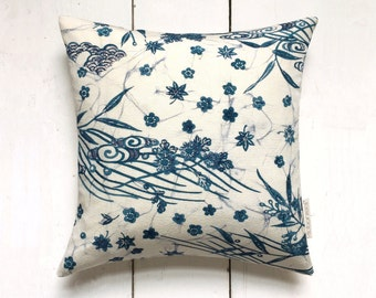 Decorative Blue and White Japanese Vintage Kimono Silk Fabric Floral Cushion Pillow 'Blossoms and Stream'