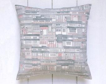 Retro Japanese Vintage Kimono Pillow Cushion in grey and blush 'Floating World'