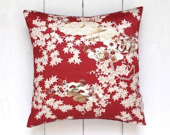 Red and White Vintage Japanese Kimono Silk Fabric Pillow Cushion 'White Momiji'