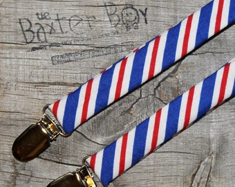 Ready-to-Ship --- SIZE MEDIUM Red, White & Blue diagonal stripe little boy suspenders - photo prop, wedding, ring bearer, accessory