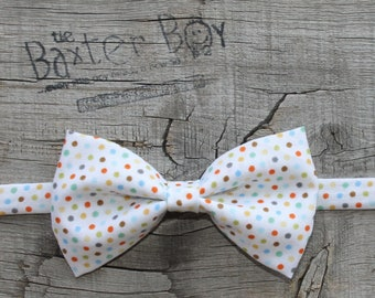 READY TO SHIP ---- Fall Polka Dot bow tie for little boys - photo prop, wedding, ring bearer, accessory