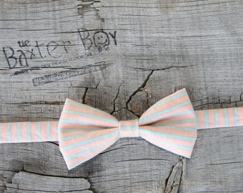 READY TO SHIP ---- Peach and Grey stripe little boy bow tie - photo prop, wedding, ring bearer, accessory