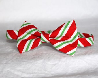READY TO SHIP ---- Red, White and Green diagonal stripe little boy bow tie, pre-tied - photo prop, wedding, ring bearer, accessory