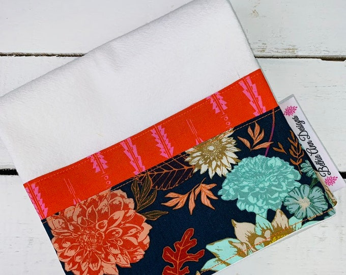 FREE DOMESTIC SHIPPING Flour Sack Kitchen Towel with Navy Floral Border