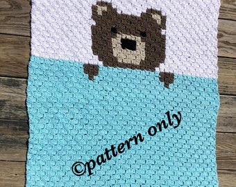 Sleeping bear C2C pattern, graph and written instructions included