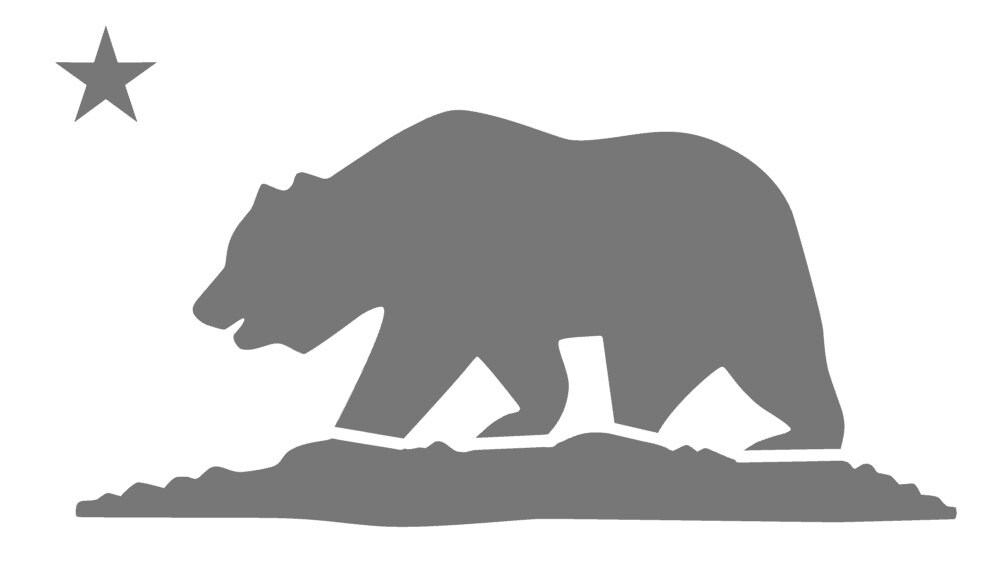 Cali Bear Stencil California State Flag