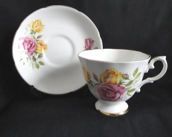 Royal Grafton Cup & Saucer Pink Yellow Roses England Fine Bone China Vintage RARE