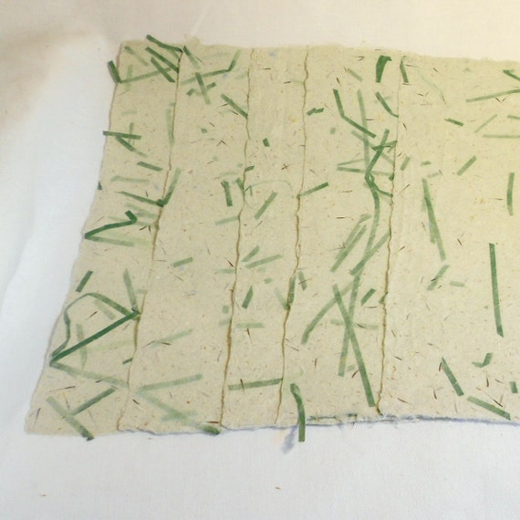 Red Fabric and Seeds Scrapbooking Paper Writing Paper 8 12 x 11-PM-HMPgreens Five Hand Made Paper with Chopped Green Shreds