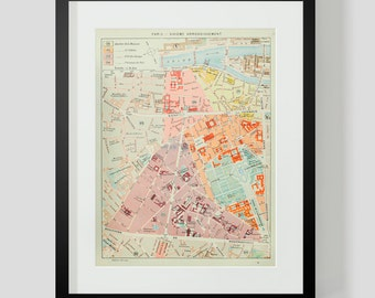 Map Of Paris France 6th Arrondissement.Arrondissement Map Etsy
