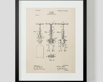 Vintage Wine Corkscrew Stiles Patent Print