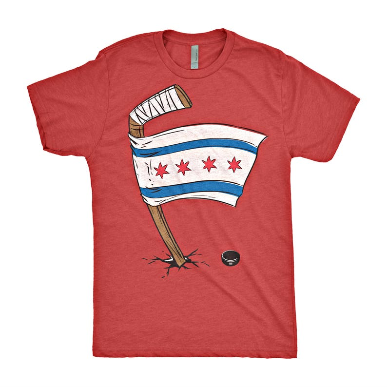 Chicago Blackhawks Chicago Flag T Shirt Etsy