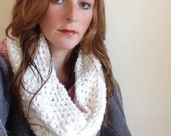 Color Block Crochet Cowl: White and Pink