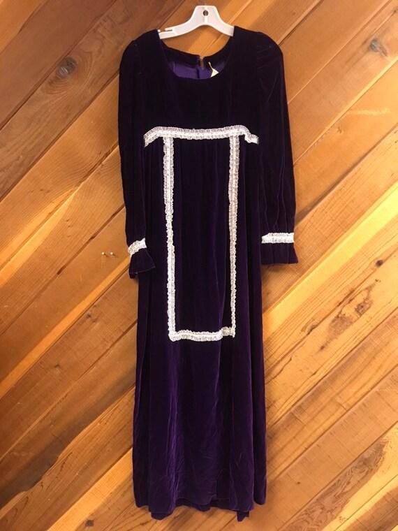 Vintage Purple Velvet Prairie Dress