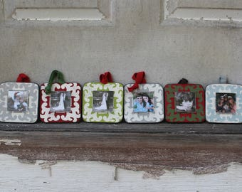 Set of Six MINI frame ornaments, handmade and recycled wood frame, small wood photo frame
