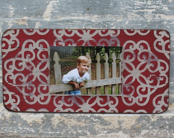 Handmade Picture Frame with hand stamped design - Holds a 4 x 6 image, 7 x 14 exterior dimension - In Stock - IMMEDIATE SHIPPING