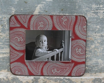 Handmade Picture Frame with hand stamped design - Holds a 4 x 6 image, 8 x10 exterior dimension - In Stock -  FAST SHIPPING