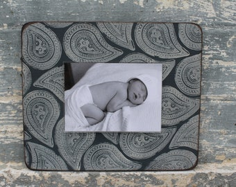 Handmade Picture Frame with hand stamped design - Holds a 5 x7 image, 11 x 13 exterior dimension - In Stock  -  FAST SHIPPING