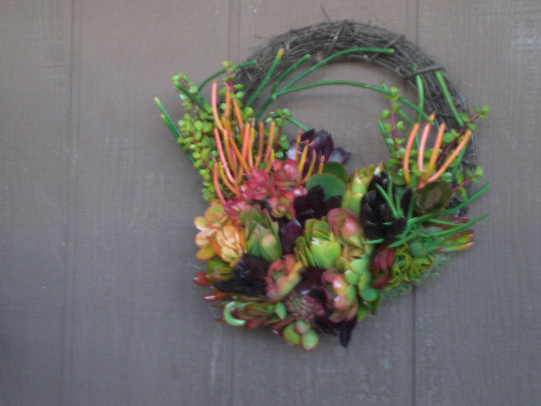 Sommer Farbe 14 Zoll Weidenruten Leben Kranz von Sukkulenten