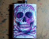 Tattoo Art Stainless Steel 8 oz. Hip Flask Colorful Neon Pop Art Sugar Skull Flash Design - Electric Pink and Blue