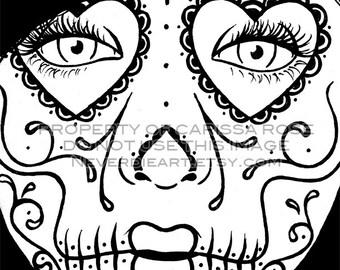 sugar sugar skull coloring page etsy