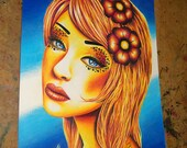 ORIGINAL DRAWING - Pretty Pop Art Pink and Yellow Girl Portrait - Colored Pencil Illustration 8.5x11 inches - Honey by Carissa Rose