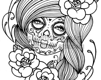 Day Of The Dead Tattoo Flash Digital Download Print Your Own Etsy