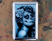 Cigarette Case Money Clip Business Card Holder Duality Black and White Day of the Dead Pretty Tattoo Style Sugar Skull Girl Aluminum