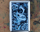 Cigarette Case Money Clip Business Card Holder Epiphany Black and White Day of the Dead Tattoo Butterfly Sugar Skull Girl Aluminum