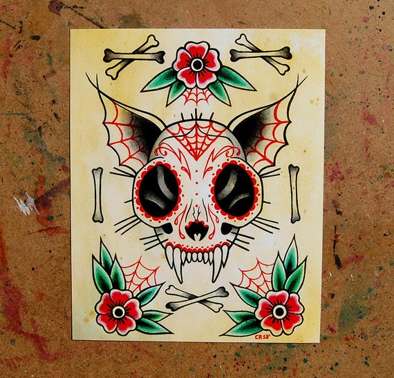 Cat Skull Day Of The Dead Tattoo Art Print 5x7 8x10 Or Apprx 11x14 Inches Lowbrow Old School Tattoo Flash Skeleton Cat Sugar Skull