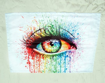 Full Pillow Case | Eye Candy by Carissa Rose | Colorful Rainbow Pop Art Drippy Eye Watercolor Painting | Edgy Pillowcase Home Decor