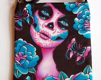 Shoulder Sling Strap Bag | Memento by Carissa Rose | Day of the Dead Sugar Skull Girl Goth Edgy Punk Dark Crossbody Tote Leather Purse