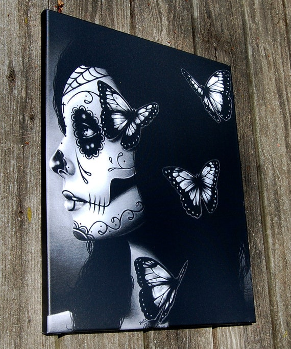 16x20 in Stretched Canvas Print - Flutter By - Dia De Los Muertos Tattoo  Flash Day of the Dead Sugar Skull Girl