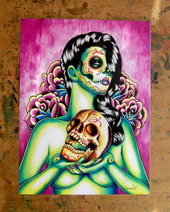 Art Of The Pinup: Day Of The Dead Pin Up Girl With Sugar Skull Signed Art