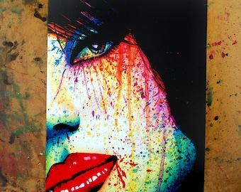 Signed Art Print - As The Dust Settles - Rainbow Pop Art Punk Rock Horror Portrait Edgy Alternative Signed Art Print by Carissa Rose