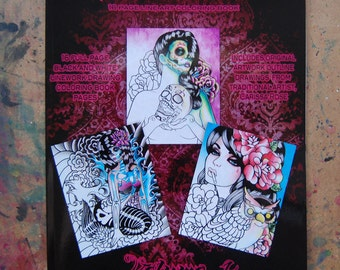 16 Page Black and White Adult Coloring Book - Never Die Art Coloring Book Volume 1 Art by Carissa Rose