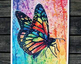 18x24 in Poster Art Print - Rainbow Pop Art Butterfly