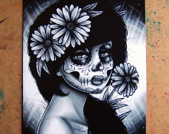 Sugar Skull Girl Portrait Daisy By Carissa Rose Signed Art Print 5x7, 8x10, or 11x14 in Day of The Dead Black And White