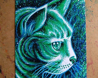 Kitty 2 Pop Art Print - 5x7, 8x10, or apprx 11x14 inches PopArt Electric Neon Feline Cat Kitten Meow Kitteh Sharpie Art Print