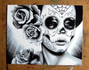 Day of the Dead Art - Dia De Los Muertos Sugar Skull Girl Portrait Felicity By Carissa Rose Signed Art Print - Black and White